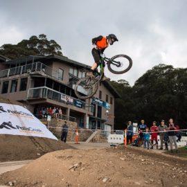 Mountain Bike rider jump Falls Creek MTB park